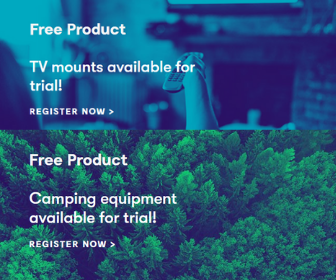 Samples of TV Mounts and Camping Equipment from Home Tester Club