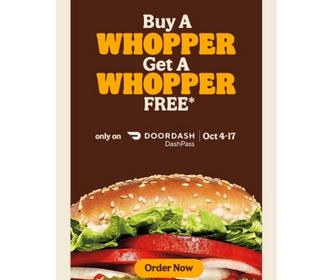 Doordash: BOGO Whopper at Burger King