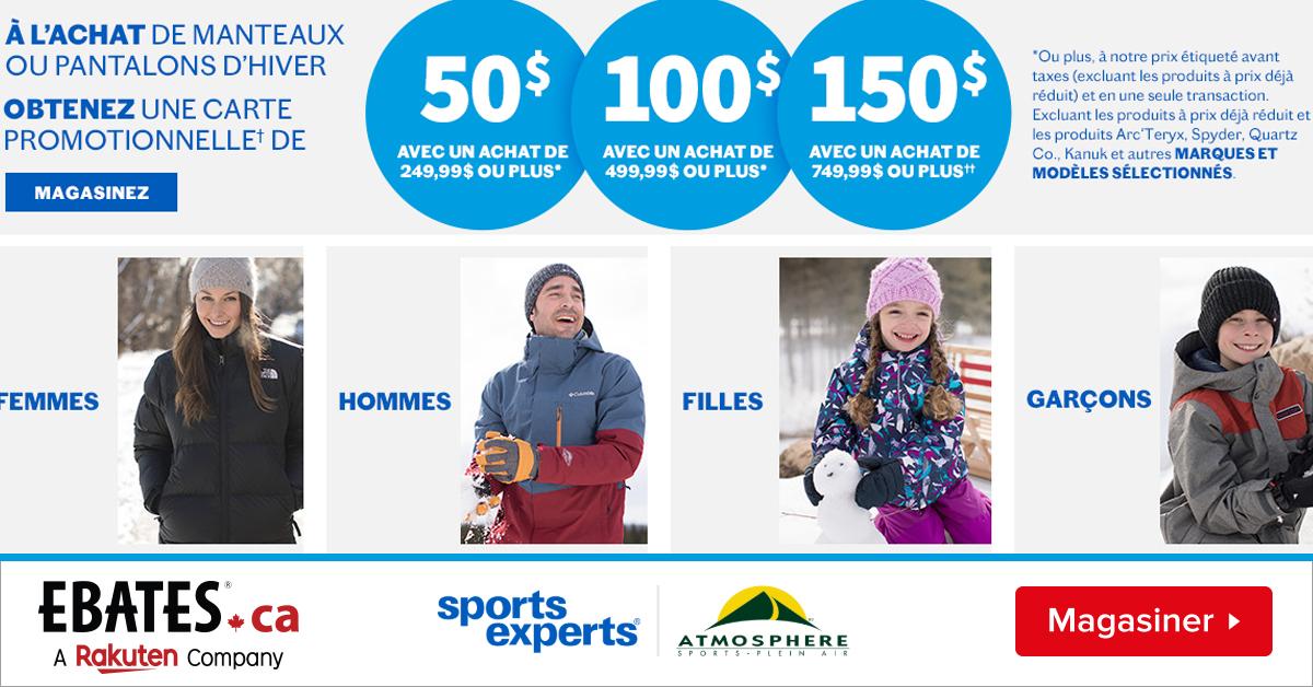 Sports Experts vous offrent jusqu'à 150$ en carte-cadeau!
