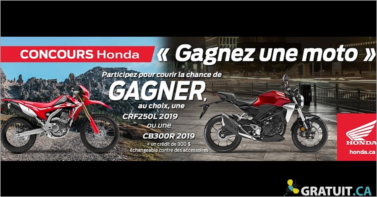 Gagnez une moto Honda de votre choix