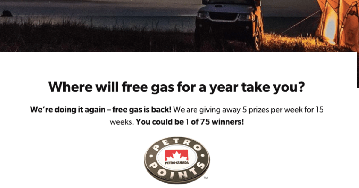 Win Free Gas for a Year from Petro Canada - Freebies com