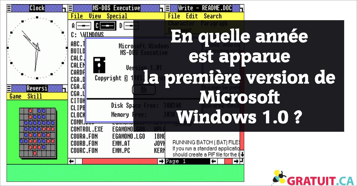 En quelle année est apparue la première version de Microsoft Windows 1.0?
