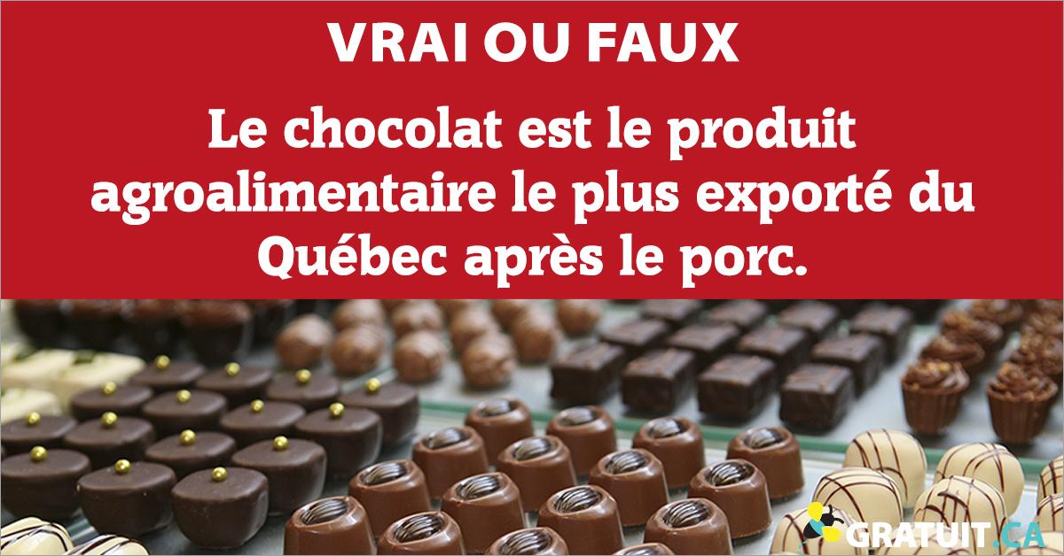 Vrai ou faux : Le chocolat est le produit agroalimentaire le plus exporté du Québec après le porc.