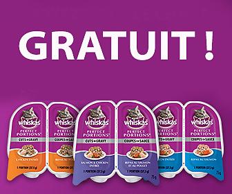 Gratuit - 2 repas pour chat Whiskas Perfect Portions