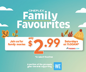 Cineplex Family Favourites: Movie Passes for $2.99