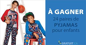 Gagnez 24 paires de pyjamas pour enfants