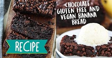 Chocolate Gluten Free and Vegan Banana Bread