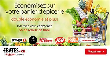 Économisez sur votre panier d'épicerie avec Ebates