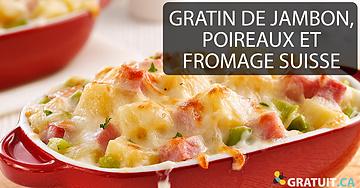 Gratin de jambon, poireaux et fromage suisse