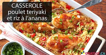 Casserole de poulet teriyaki et de riz à l'ananas