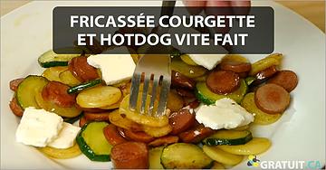 Fricassée courgette et hotdog vite fait