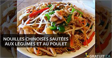Nouilles chinoises sautées aux légumes et au poulet