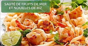 Sauté de fruits de mer et nouilles de riz