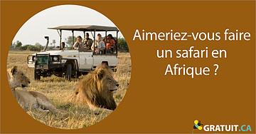 Aimeriez-vous faire un safari en Afrique?
