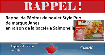 RAPPEL Pépites de poulet Style Pub de marque Janes - bactérie Salmonella