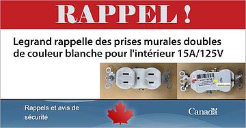 RAPPEL prises murales doubles de couleur blanche pour l'intérieur 15A/125V