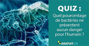 quiz Quel pourcentage de bactéries ne présentent aucun danger pour l'humain?