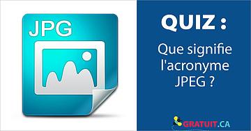 Que signifie l'acronyme JPEG?