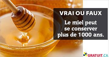 Vrai ou faux : Le miel peut se conserver plus de 1000 ans.