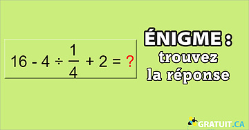 Énigme : trouvez la réponse.