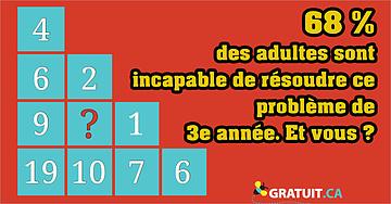 68% des adultes sont incapable de résoudre ce problème de 3e année. Et vous?68% des adultes sont incapable de résoudre ce problème de 3e année. Et vous?