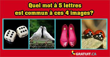 Quel mot à 5 lettres est commun à ces 4 images?