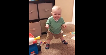 Baby With New Shoes Discovers Ability That Will Make Anyone Laugh