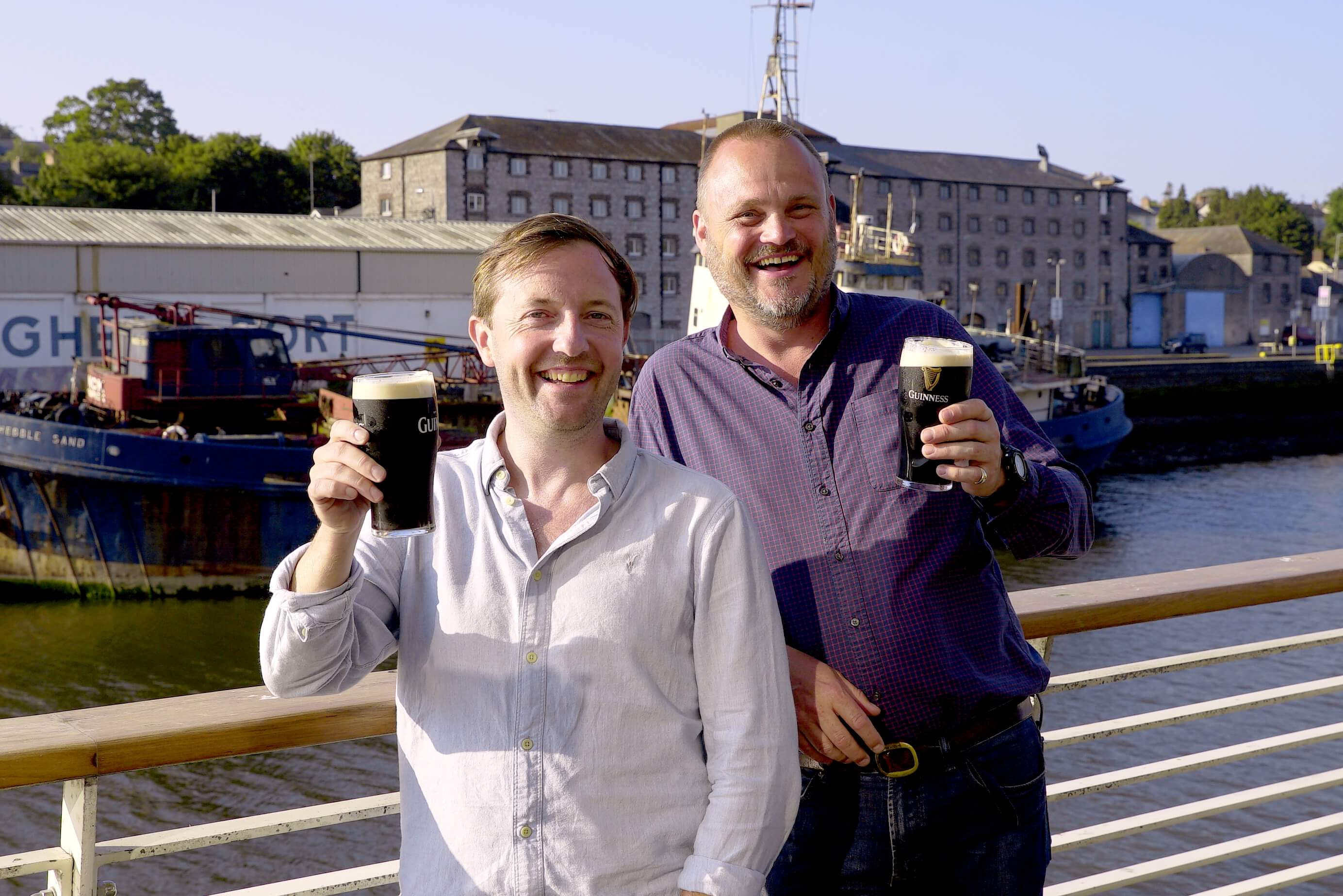 Al Murray and Andrew Maxwell drinking Guinness in Ireland
