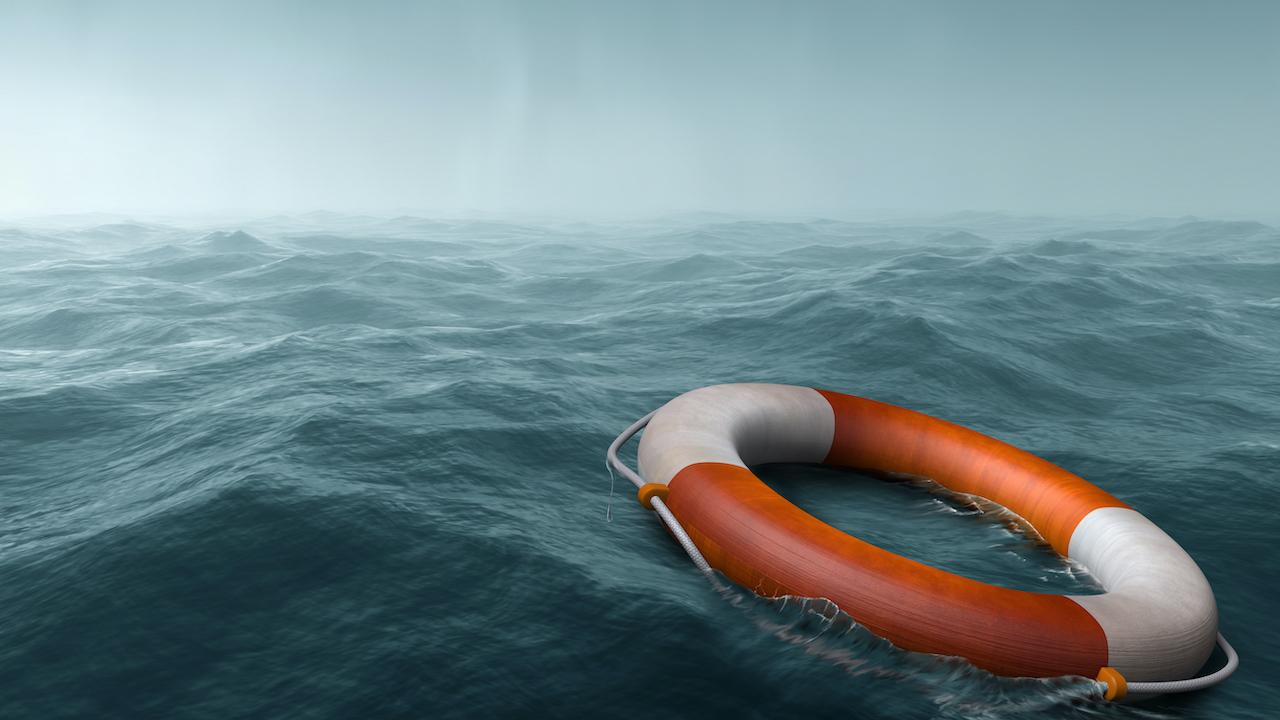 life raft out at sea