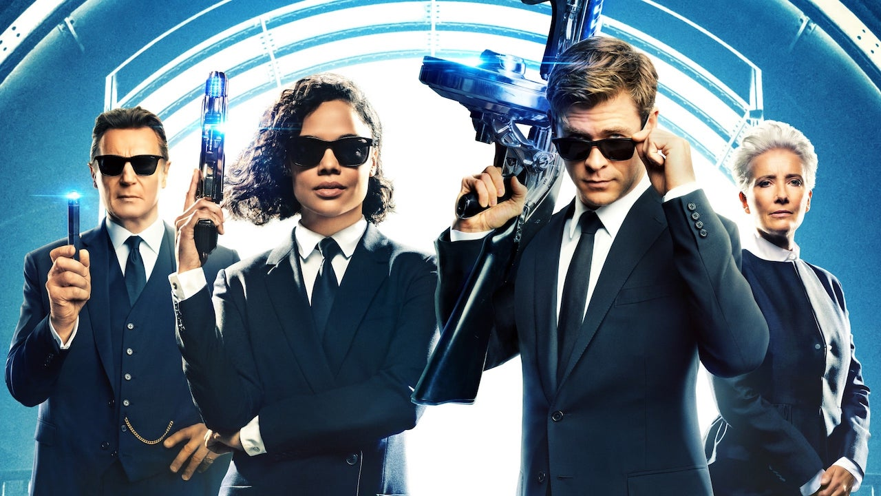 Men in Black movie poster with chris hemsworth and tessa thompson