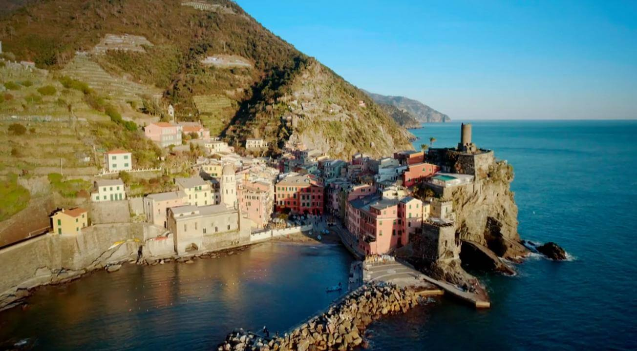 village on cliff in italy