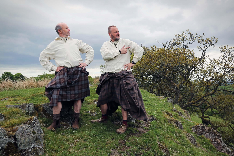 Al Murray and Fred MacAulay in kilts Scotland