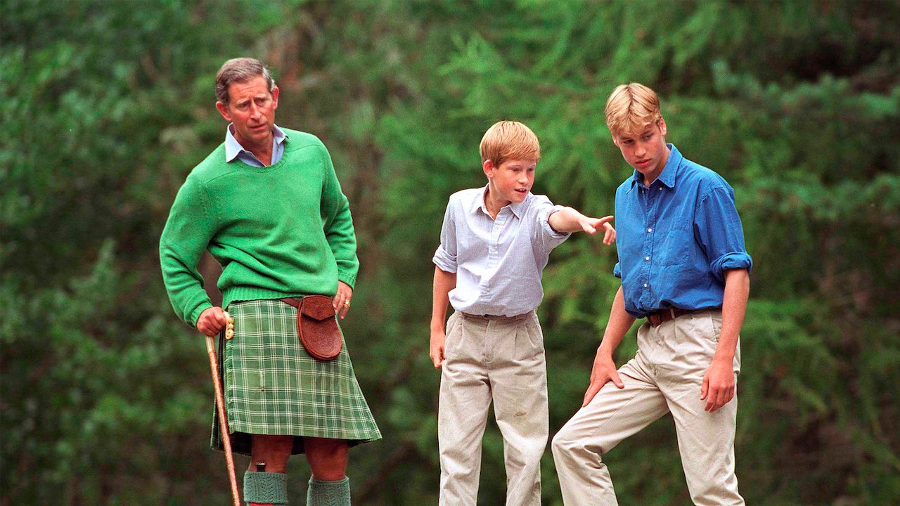 prince charles with young prince william and harry