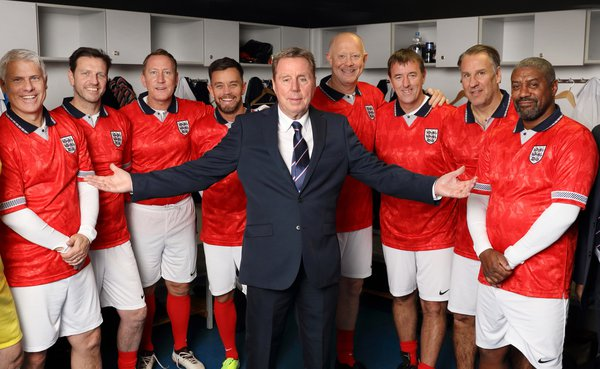 Harry Redknapp and his team of England legends in locker room