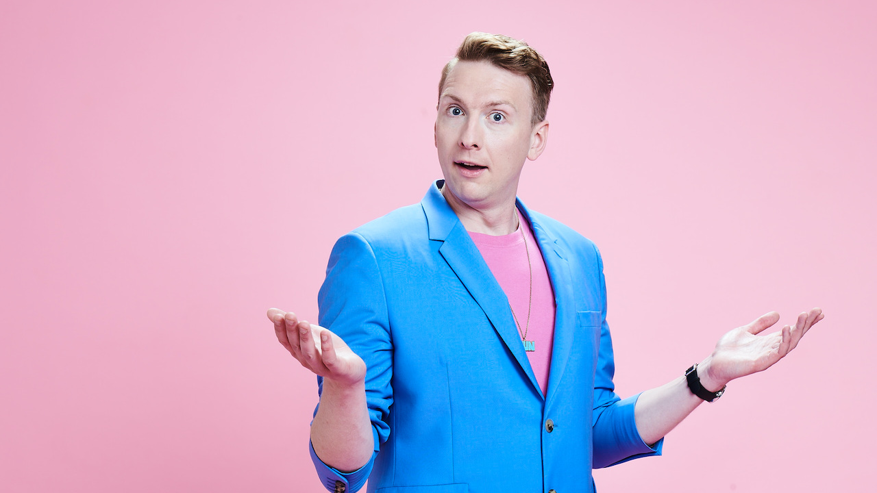 joe lycett pink background