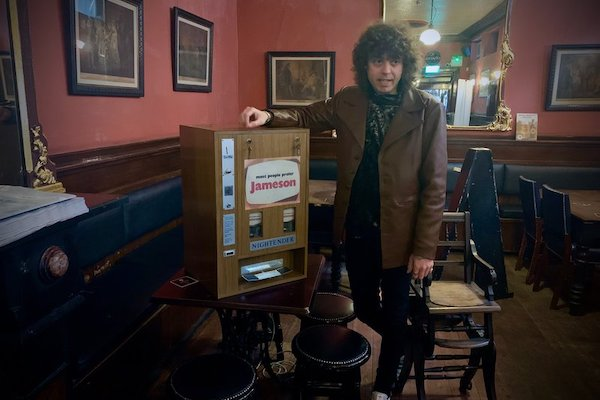 Ian Dowling with whiskey dispenser