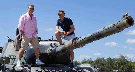 bradley walsh and son on a tank