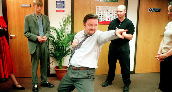 the office ricky gervais dancing banner