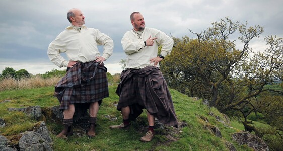 Al Murray and Fred MacAulay in kilts