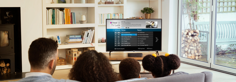 Family watching Freesat TV