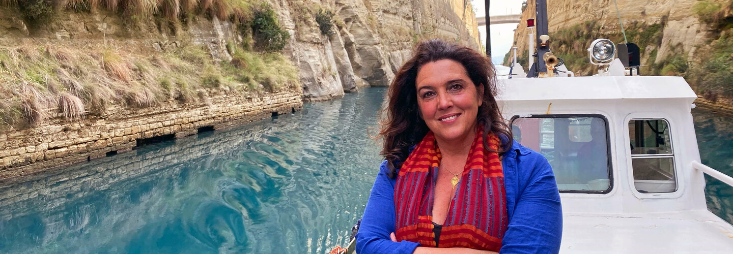 bettany hughes sailing around greek islands on a boat