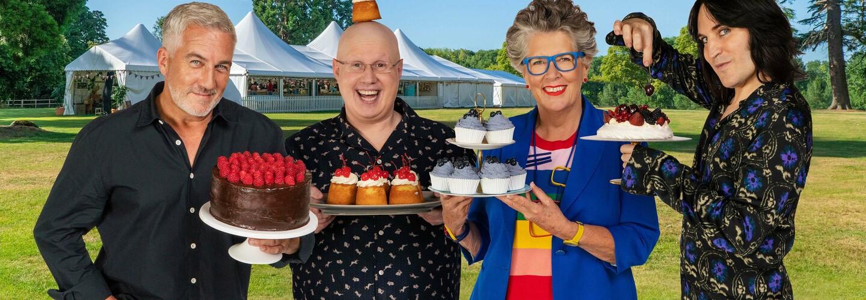 great british bake off 2020 hosts and judges banner