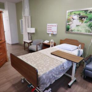 Private bedroom inside skilled nursing facility