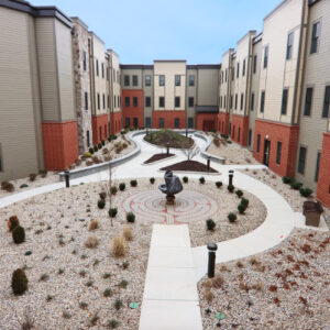 Courtyard rendering at senior living community