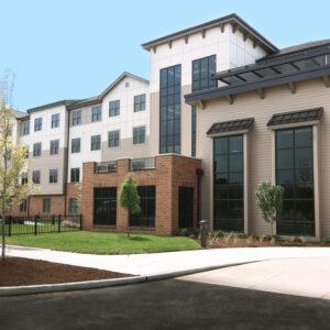 exterior of memory care, assisted living senior living community