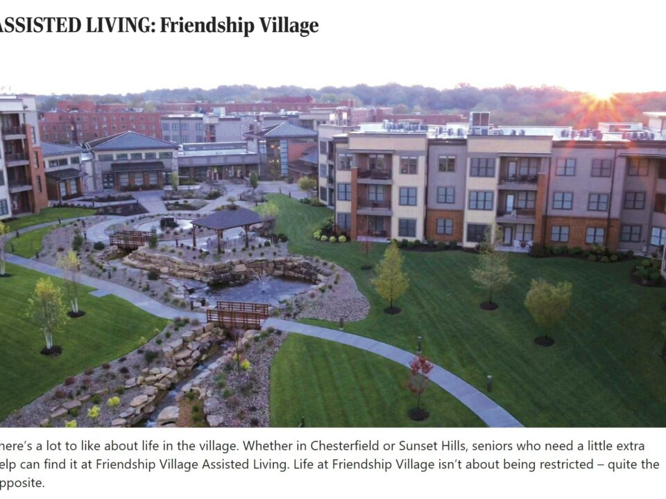 Aerial view of assisted living community