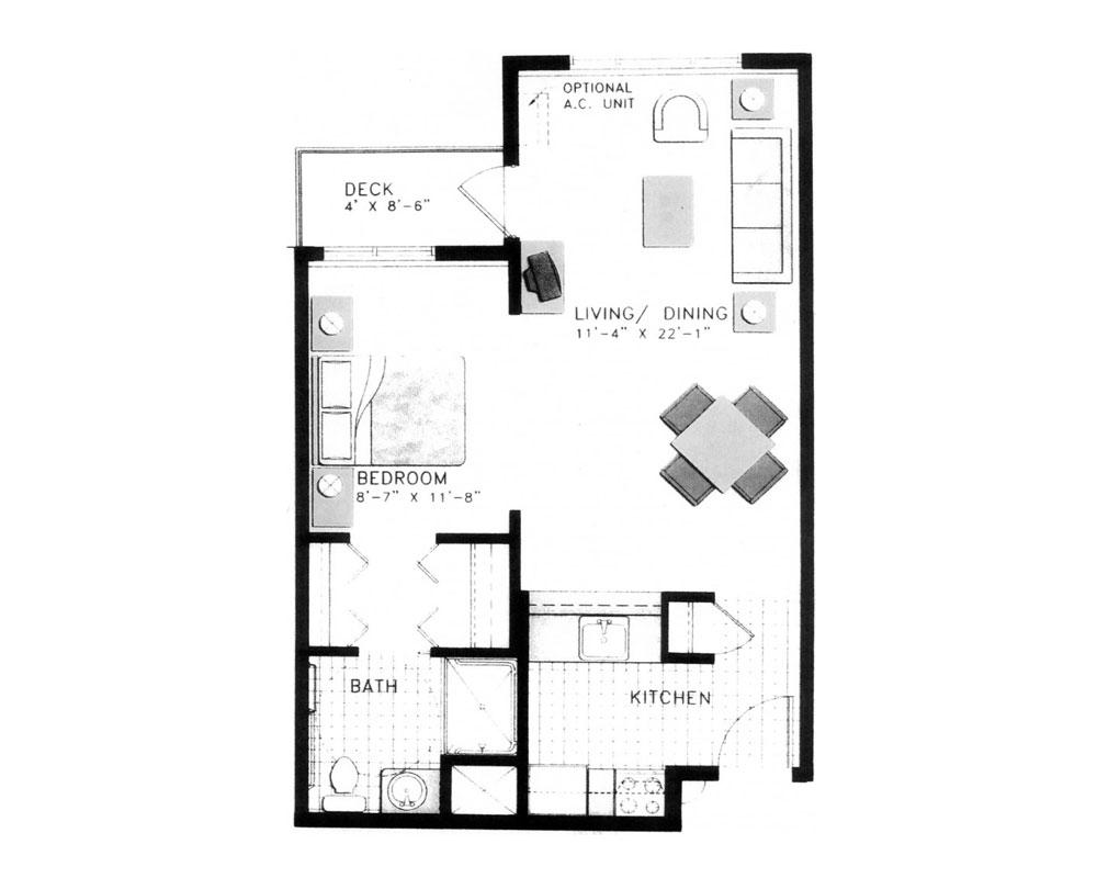 Alcove: Studio/One Bath 553 sq. ft. $146,332 Entry Fee, $2,836/Month