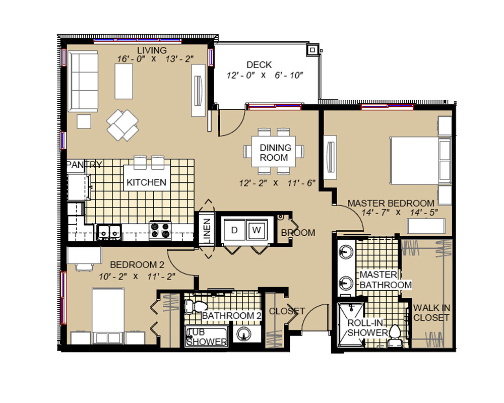 Two Bedroom/Two Bath 1,230 sq. ft. $299,220 Entry Fee, $2,029/Month