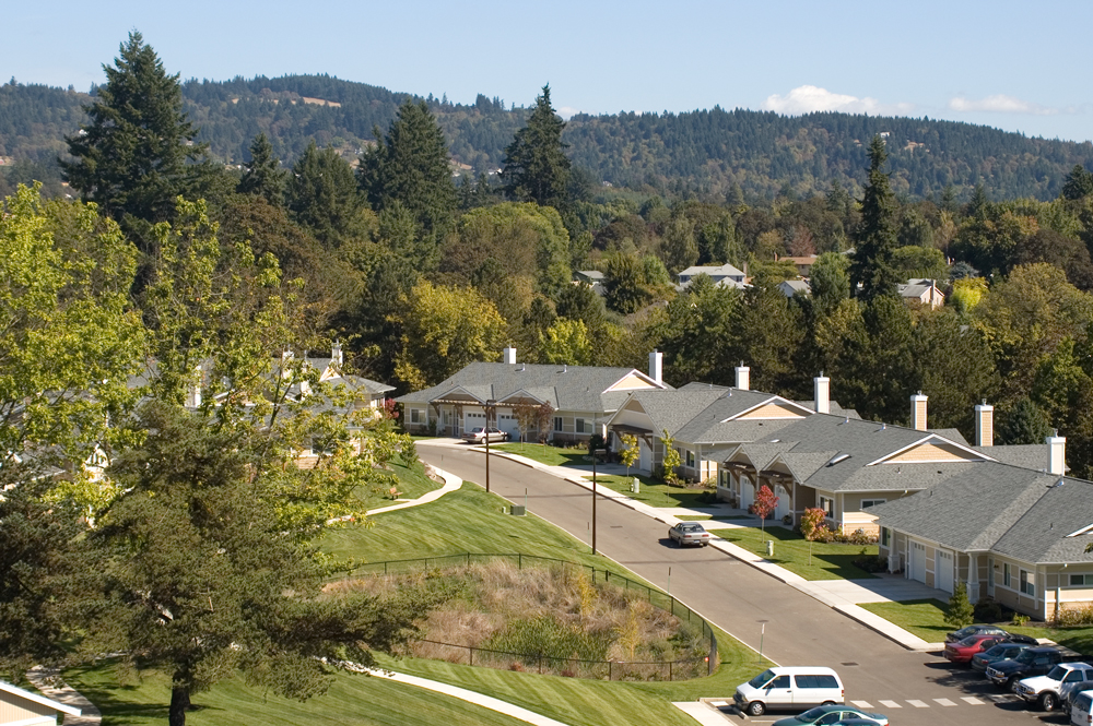 An aerial photo of the senior living homes in Newberg, Oregon at Friendsview