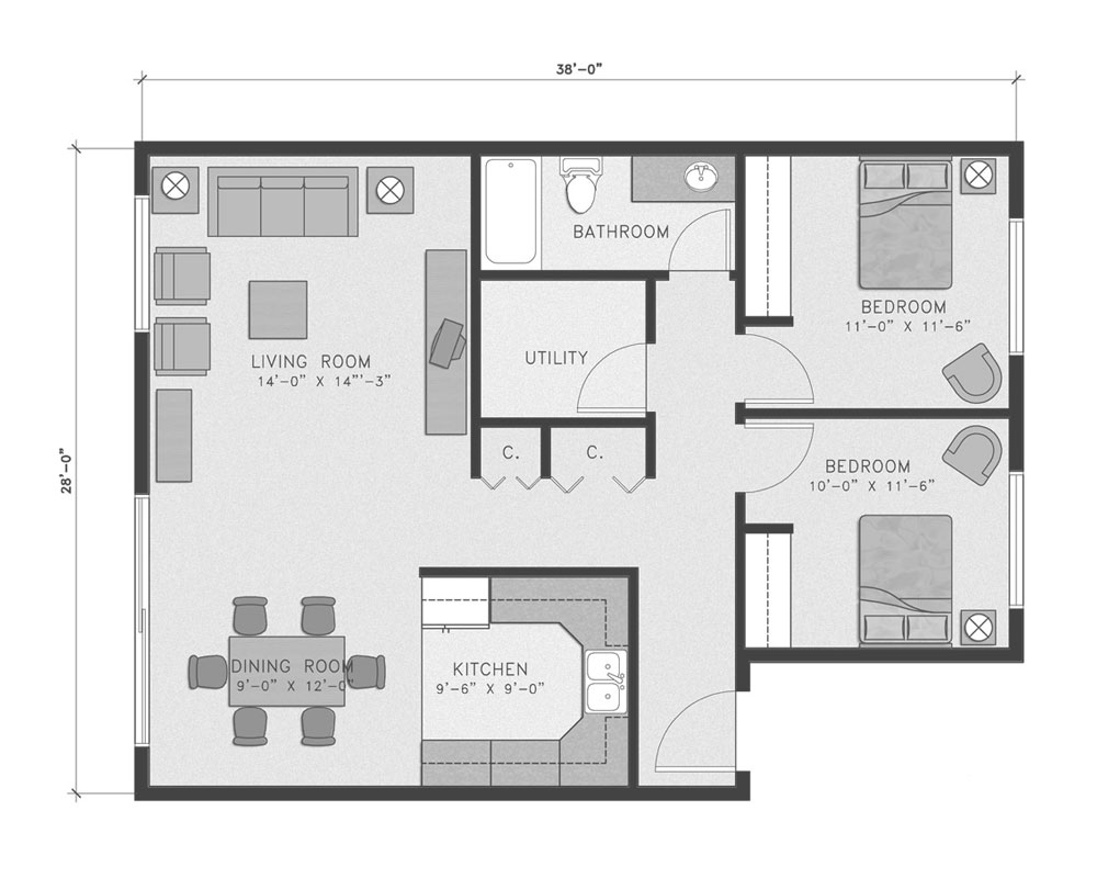 Two Bedroom/One Bath 1,008 sq. ft. $198,999 Entry Fee, $2,051/Month